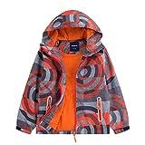 Gogokids Chaqueta de esquí para niños – Chubasquero impermeable – Chubasquero impermeable – Forro polar cálido con capucha – Mono de nieve aislado, 120 cm