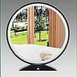 XM-MIRROR Espejo de Maquillaje LED Smart Touch Beauty, Rojo Neto con pequeño Espejo de tocador de sobremesa de Almacenamiento, Espejo cosmético de luz de Relleno Redondo Europeo,Negro,55cm