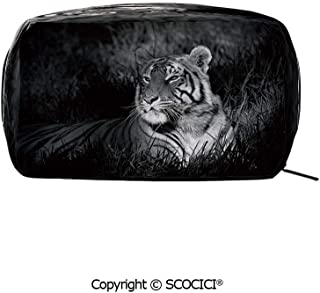 Rectangle Portable makeup organizer Cosmetic Bags Bengal Tiger Lying in Grass Africa Savannah Monochrome Image Decorative Printed Storage Bags for Women Girls