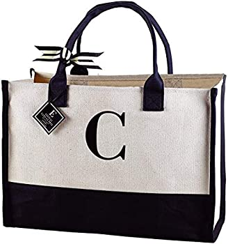 Mud Pie Classic Black and White Initial Canvas Tote Bags  C  100% Cotton 17  x 19  x 2