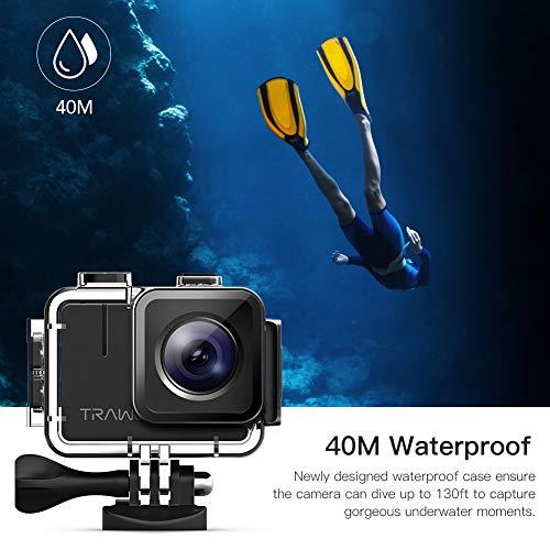 APEMAN A100 Action Cam 4K/30fps UHD WiFi 20MP Unterwasserkamera 40M wasserdichte Camcorder (Extreme EIS Videostablisierung, IPS-Bildschirm, 2x1350mAh Batterien) - 6