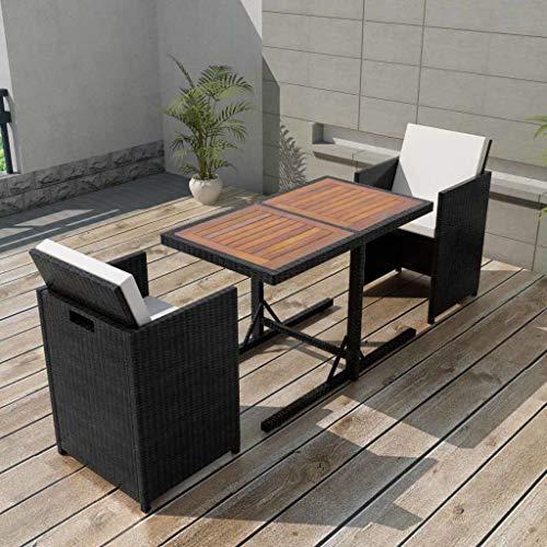 Tidyard 7-teilig Garten Essgruppe Poly Rattan Gartengruppe Sitzgruppe Gartengarnitur Set Sitzgarnitur Schwarz 1 Tisch mit Holztischplatte, 2 Stühle und 4 Kissen