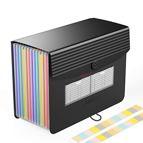 Accordian File Organizer, Expanding File Folder with Cover/Portable A4 Letter Size Filling Box,Plastic Rainbow Accordion Bill Wallet Paper Document Receipt Organizer Colored Tabs for Office/School