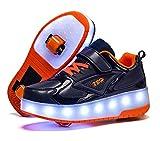 FEIGER Niños LED USB Rodillo de Carga Zapatos de patín con Zapatos de Rueda Luz de Rodillo Zapatos de Rodillo Recargable Zapatillas de Deporte para niñas niños niños,Dark Blue,40