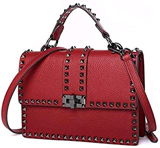 Fine Bag/Women's Tote Bag Leather Studded Crossbody Large Capacity Shoulder Bag Wallet Multi-Pocket Capacity (Color : Red, Size : One Size)