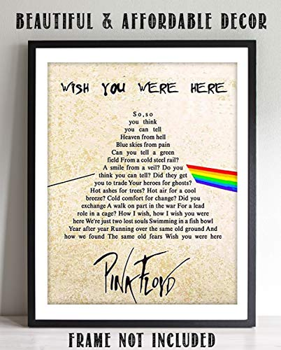 """Pink Floyd-Wish You Were Here""- Song-Word Art- 8 x 10"" Wall Print- Ready To Frame- Legendary Music Poster Replica Print. Home Decor-Studio-Bar-Dorm-Man Cave Decor. Perfect for All Pink Floyd Fans."