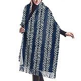 Yuanmeiju Paño de barro azul marino puntas de flecha chal abrigo invierno cálido bufanda capa bufanda grande bufandas de gran tamaño para mujeres