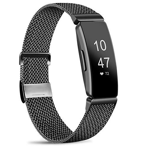 Amzpas - Cinturino Compatibile con Fitbit Inspire HR/Fitbit Inspire, Cinturino in Maglia Metallica in Acciaio Inox, Compatibile con Fitbit Inspire/Inspire HR/Ace 2, Taglia S e L (S, 03Nero)