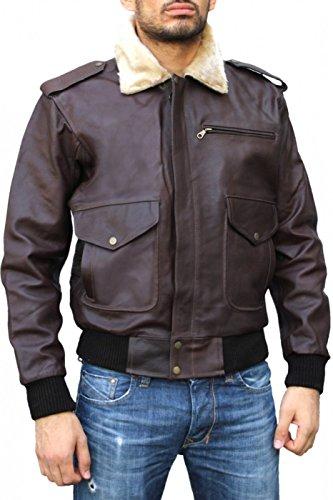Lederjacke Bomberjacke Pilotenjacke Fliegerjacke biker jacke Braun, Größe:52