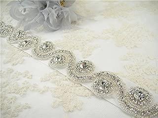 ShiDianYi Rhinestone Bridal sash, Wedding Dress Bridal Belt, Silver Crystal Sash Belt, DIY!