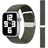 SEMKONT Compatible with Apple Watch Band 38-40mm 42-44mm, Stretchy Elastic Nylon Smartwatch Band Adjustable Replacement Watch Strap, Compatible for Apple Watch Series SE/6/5/4/3/2/1, Breathable Wristband for Men and Women (Green, 42/44mm)