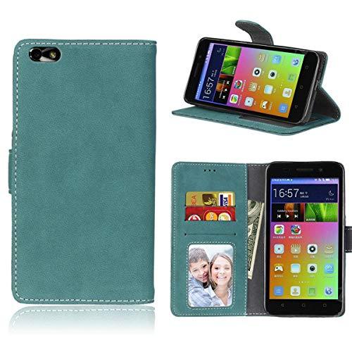Sangrl Lederhülle Schutzhülle Für Honor 4X / Huawei Glory Play 4X, PU-Leder Klassisches Design Wallet Handyhülle, Mit Halterungsfunktion Kartenfächer Flip Hülle Blau