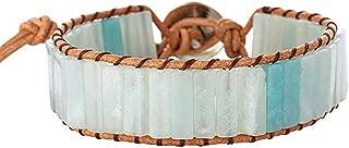 Leather Natural Stone 1 wrap Bead Adjustable Men Women Bracelet Collection