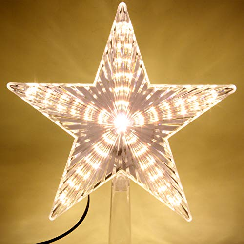 LAWOHO Christmas Tree Topper Star 8.7 Inch Warm White Christmas Tree Christmas Holiday Home Seasonal Decoration