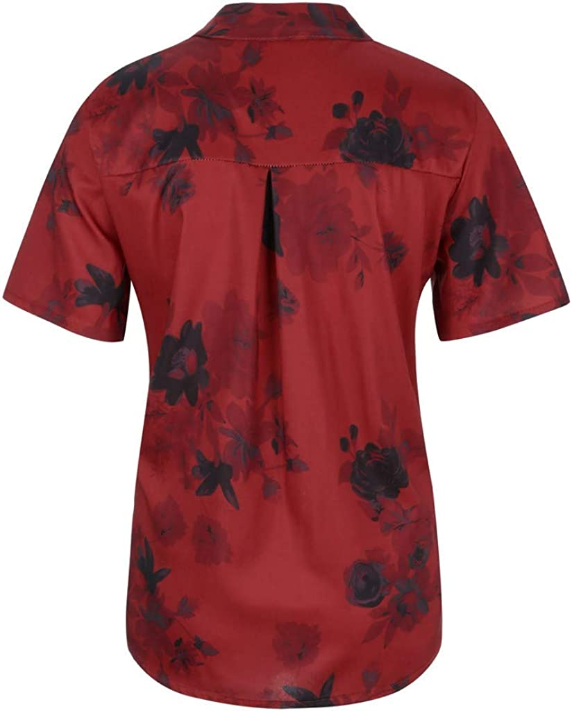 POPLY Frauen Große Größe Top Shirt Damen Drucktasche Kurzarmbluse Tank Tops Bohemian Lässige T-Shirt Plus Size Taste Hemd Wine Rot