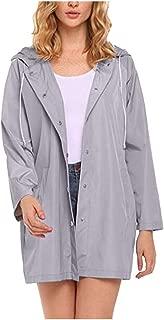 Womens Casual Long Sleeve Solid Rain Jacket Outdoor Waterproof Windproof Hooded Raincoat Pocket Outwear Coat Overcoat Tops (S-2XL)