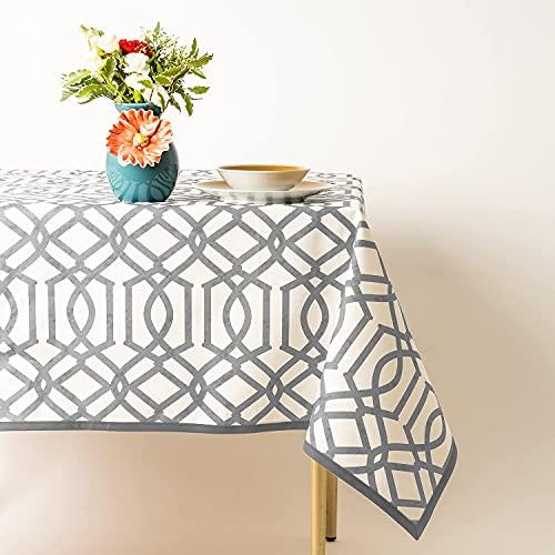 PLACEMATFAB Mantel Antimanchas, Impermeable y Lavable Grecia Gris. Rectangular Color Gris. Tela 100% algodón orgánico resinado. Hecho a Mano. 1 Unidad de 140x200 cm.