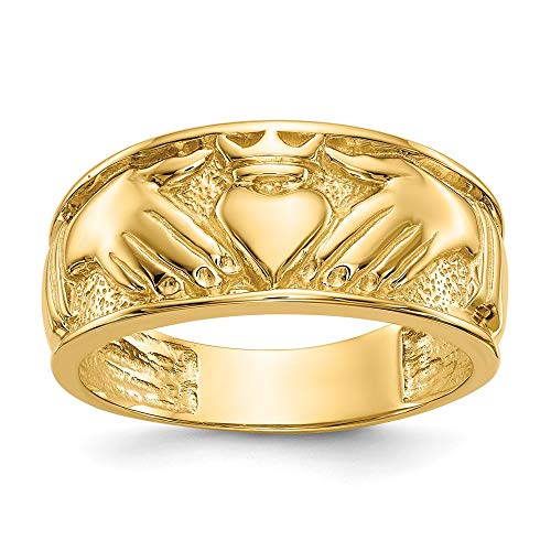 14k Yellow Gold Mens Irish Claddagh Celtic Knot Wedding Ring Band Size 10.00 Man Fine Jewellery For Dad Mens Gifts For Him