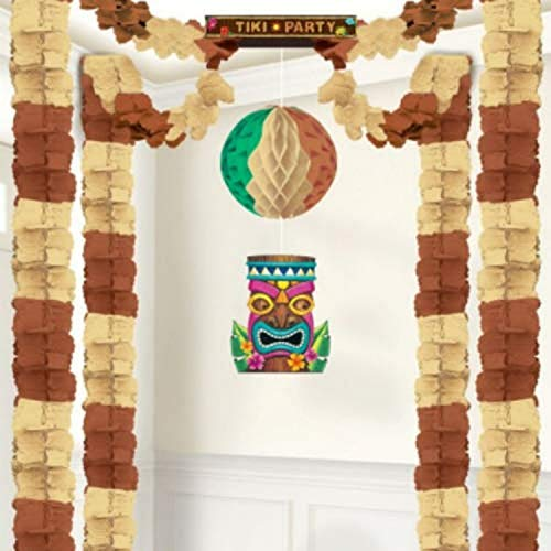 amscan Tiki Party All-in-One Hanging Decoration, 20' x 20', Multicolor, Multisizes (242296)