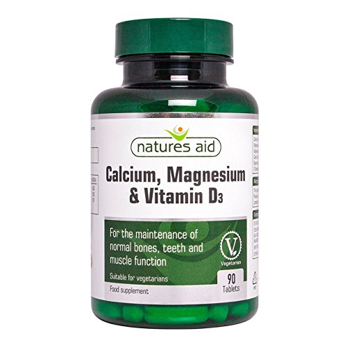 Natures Aid Calcium Magnesium and D3, Helps Maintain Normal Bones, Teeth and Muscle Function, Vegan, 90 Tablets
