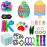 Fidget Toy Pack, Pop Bubble Cheap Sensory Fidget Pack Stress Relief Toys with Marble Mesh Pop Anxiety Tube for Kids Adult (Fidget Pack 1)