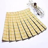 LAMCE Jupe plissée à Carreaux Avocat Printemps et été Jupe Jupe de Style Japonais Femme Matcha Vert étudiant jk Jupe Uniforme Taille Haute Yellow-L