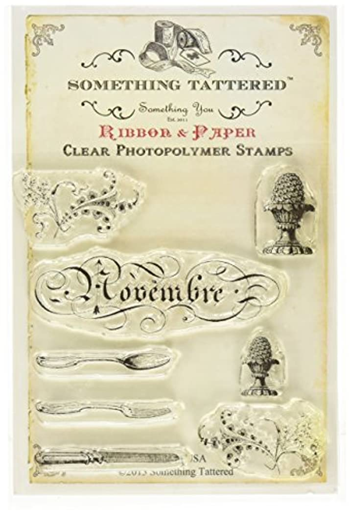 Something Tattered November Novembre French Month Clear Stamps, 4 by 4-Inch