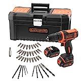 BLACK+DECKER BDCDD121BKA-QW Perceuse-Visseuse sans fil - 2 Batteries - 26 Nm - 40 accessoires - Livrée en boite à outil, 10.8V