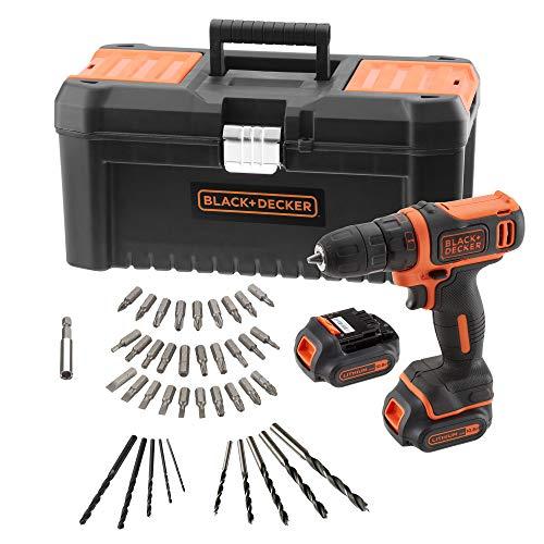 BLACK+DECKER BDCDD121BKA-QW - Taladro atornillador 10.8V con 2 baterías de litio 1.5Ah, 40 accesorios y caja de herramientas