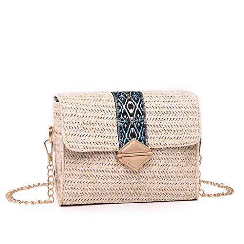 NMERWT Damen Mode Gewebte Diagonale Retro Vielseitige Kette Cross Bag lässig Strandtasche Wilde Schultertasche Mini Tasche