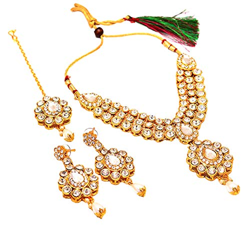 Indian handmade ad stone jewelry rich look AD Gold Plated Necklace Set with teeka tika 6678