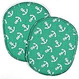 Knieflicken Set Flicken zum aufbügeln XL kleine weisse Anker auf grün 2 Flicken 12x10 cm Aufbügler große maritime Bügelflicken für Textilien flickli Bügelbilder für Kinder und Erwachsene geeignet