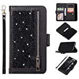 Nadoli Case for Samsung Galaxy A70 Glitter Case,Luxury Splice Color Bling PU Leather Flip Wallet Cover with 9 Card Slots Stand Shockproof Case,Black