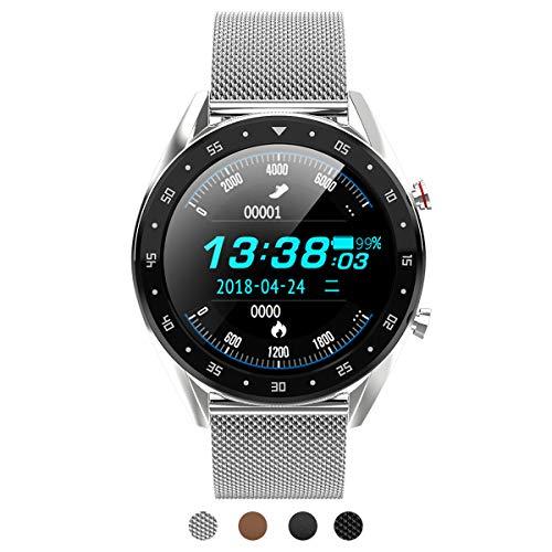 BINDEN Smartwatch L7 Elegante Deportivo IP68 Pantalla Táctil Redonda Compatible con iOS Android Metálica Plata (Reacondicionado)