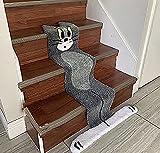 T-om and J-erry Stairs Cartoon Carpet , Big Unique M Cat Shape Flat Rug Floor Mats Children Crawling Blanket-Plush Surface