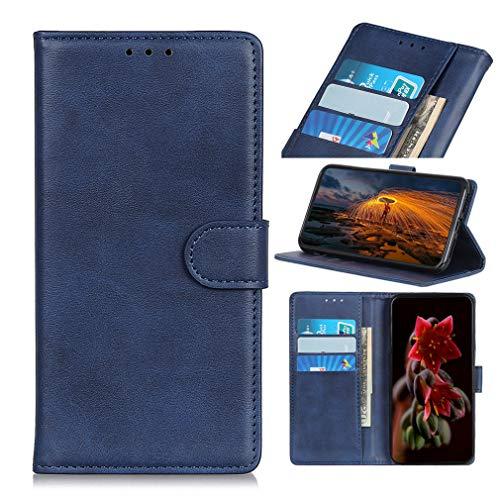 LMFULM® Hülle für Xiaomi Black Shark 3 (6,67 Zoll) PU Leder Hülle Magnet Brieftasche Lederhülle Retro Rindsleder Style Stent-Funktion Schutzhülle Flip Cover Blau