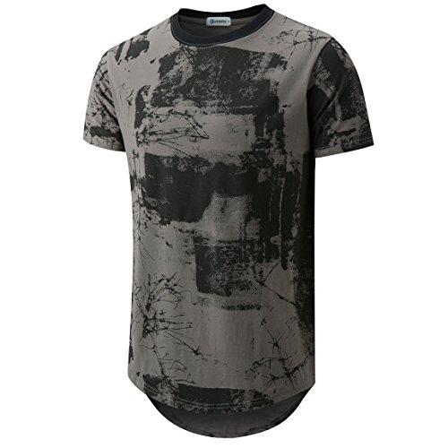 KLIEGOU Mens Hipster Hip Hop Ripped Round Hemline Pattern Print T Shirt 86 Gray M