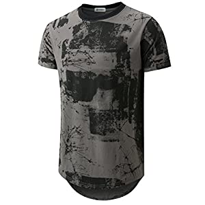 Men's Hipster Hip Hop Ripped Round Hemline Pattern Print T Shirt