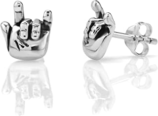 925 Oxidized Sterling Silver Tiny I Love You Hand Sign 10 mm Post Stud Earrings