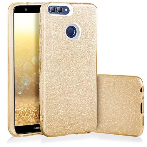 QULT Handyhülle kompatibel mit Huawei P Smart Hülle Silikon Gold Glitzer glänzend Tasche Huawei P Smart 2017 Hülle Bumper mit Glitter Design Sparkles Golden