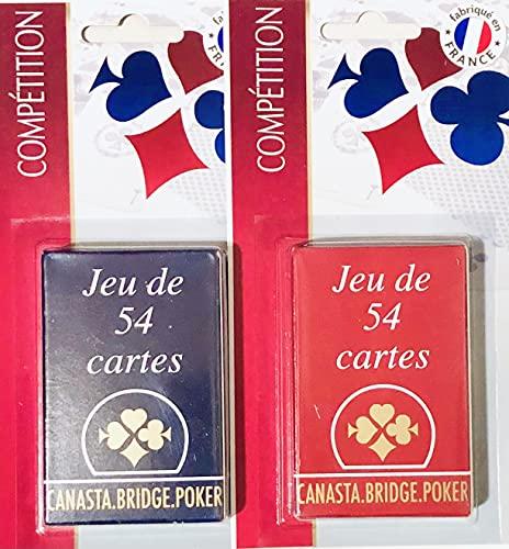 Lot de 2 Jeux de 54 cartes - Bleu et Rouge Gauloise - Cartonnées Plastifiées Sous blister - 4 index standards - portraits français