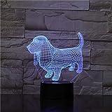 Dackel Hund Acylic LED 3D Nachtlicht 7-Farben-Wechselsensor Nachtlicht Touch RGB Tier 3D Tischlampe Weihnachtsgeschenk