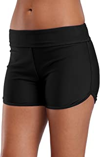 Women's Boyleg Swim Shorts Beach Tankini Boyshorts Black Swimming Shorts