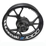 Para kawasaki z1000 z 1000 motocicleta rueda reflectante llanta raya calcomanía pegatina frontal decalado trasero conjunto completo Accesorio Pegatinas (Color : 14)