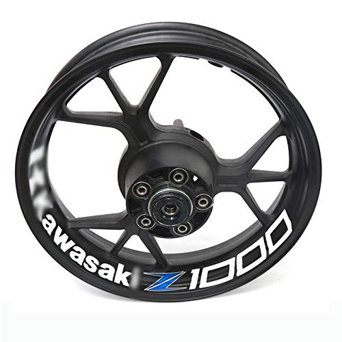 Para kawasaki z1000 z 1000 motocicleta rueda reflectante llanta raya calcomanía pegatina frontal decalado trasero conjunto completo (Color : 14)