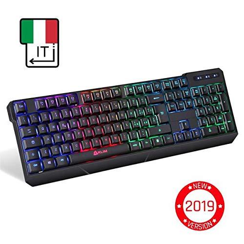 KLIM Chroma Tastiera Wireless ITALIANA - Sottile, Resistente, Ergonomica + Tastiera Gaming Retroilluminata...