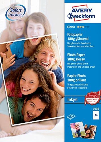 AVERY Zweckform 2496 Classic Inkjet Fotopapier (100 Blatt, 180 g/m², DIN A4 Papier, einseitig beschichtet, glänzend, weiß, zum Drucken von Fotos auf Tintenstrahldruckern, sofort trocknend)