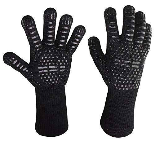 Huhuswwbin Grillhandschuhe, hitzebeständige Handschuhe, rutschfest, wasserfest, öl- und hitzebeständig, Grill- und Kochhandschuhe 2#