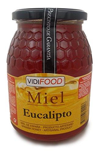 Eukalyptus Roher Honig - 1kg - In Spanien gesammelt - Feinste Qualität, Hausgemacht & 100% rein - Intensives Holzaroma und reicher, süßer Geschmack - Große Vielfalt an leckeren Geschmäckern