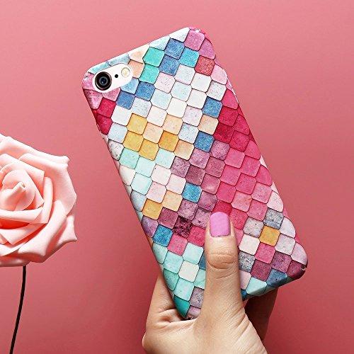 Basic Gevallen voor mobiele telefoons 3D Weegschalen Kleurrijke Diamond rasterpatroon Shockproof beschermhoes compatibel met de iPhone 6 & 6s